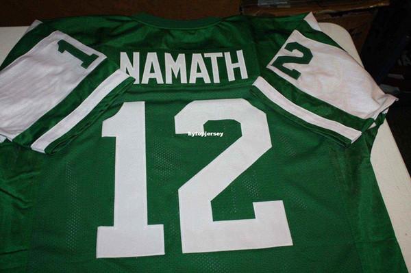 Günstige Retro JOE NAMATH # 12 BENUTZERDEFINIERTE MITCHELL NESS Jersey grün Stitching Herren Fußballjerseys College NCAA