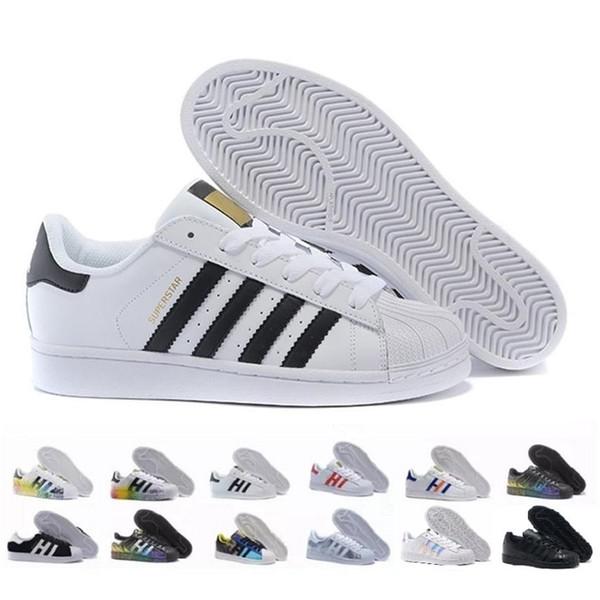 En iyi Süperstar Beyaz Siyah Pembe Mavi Altın Süperstar 80 s Pride Sneakers Süper Yıldız Tasarımcı Kadın Erkek Spor Rahat Ayakkabılar Boyutu 36-45