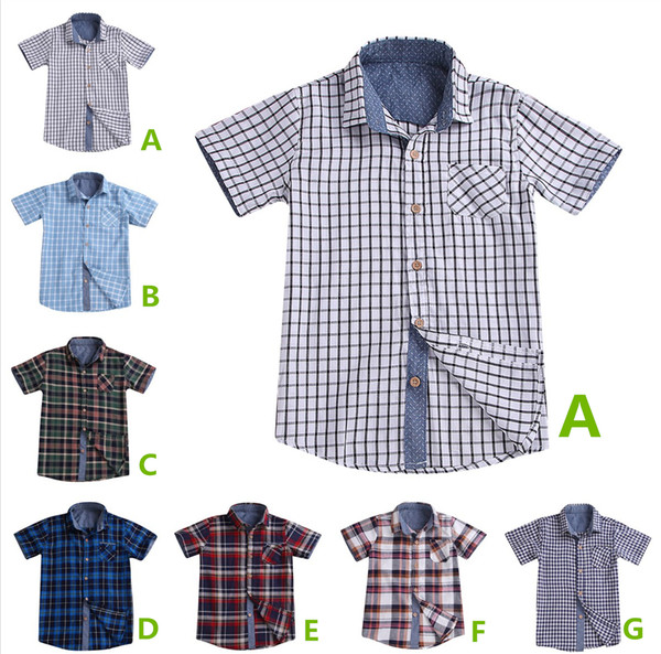 best selling Summer kids boys plaid shirts short sleeves uniforms 7 colors checks big teens school classic tops clothes gentleman suit kid clothing
