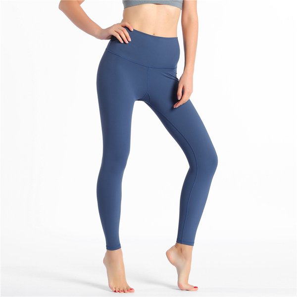 top popular Solid Color Women Yoga Pants High Waist Sports Gym Wear Leggings Elastic Fitness Lady Overall Full Tights Workout 2020