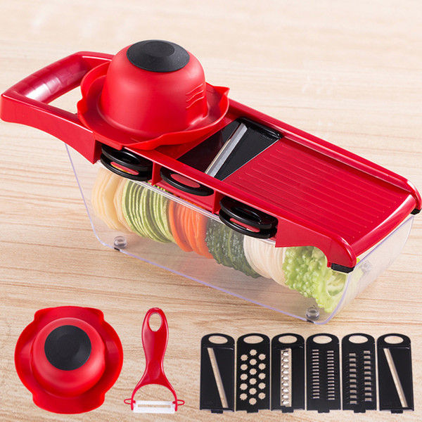 10pcs/set Manual Potato Slicer Vegetable Fruit Cutter Stainless Steel Mandoline Onion Peeler Carrot Grater Dicer Kitchen Tools