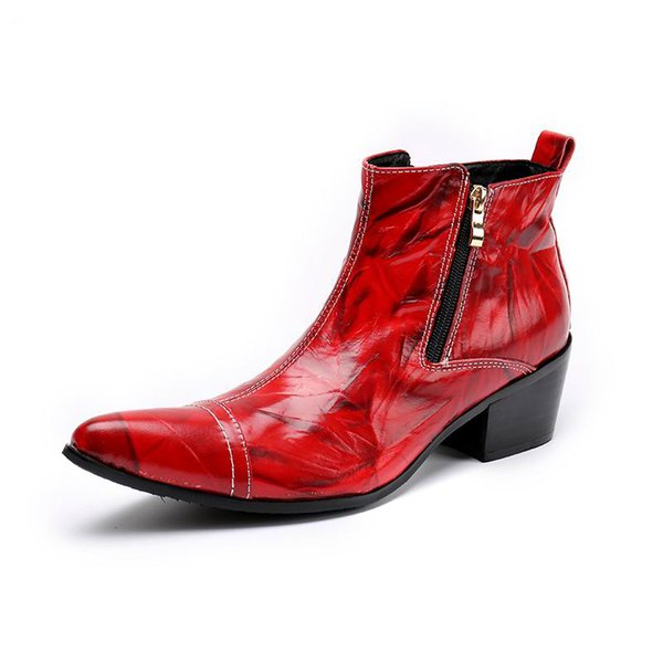 16864aa4221 Designer Red Men Ankle Boot Fashion Pointed Toe High Top Leisure Leather  Shoes Man Personalized Sewing