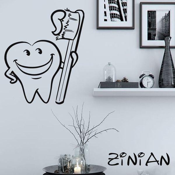 Bathroom Decor Stickers Cool Tooth Brush Wall Decals Muraux Waterproof Tile Decorate Kids Room Vinyl Sticker Dental Clinic