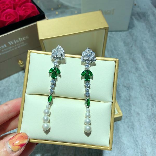 Pendientes del perno prisionero del partido de las mujeres ocasionales de las mujeres materiales de alta gama verde circón perla pendientes de la franja de Super Hada