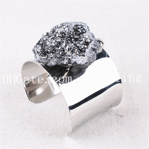 10pcs New 30-50mm Freeform Silver Titanium Coated Raw Druzy Geode Agate Open Cuff Bangle Wide Silver Plated Copper Drusy Quartz Stone Bangle
