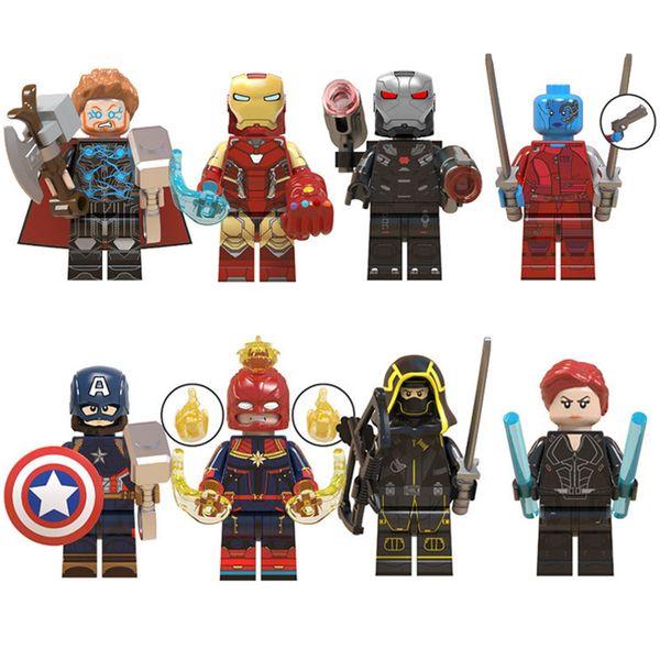 8 pcs Lot Vingadores 4 Jogo Final Mini Toy Figura Super Hero Superhero War Machine Capitão Marvel Figura Building Block Bricks Toy para crianças