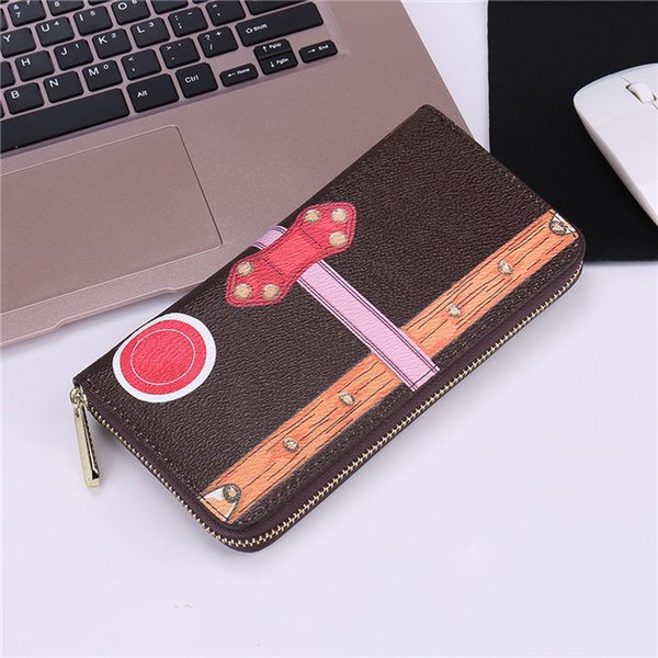 Womens Luxury bag Brands Designer LONG Women Notecase Wallets & Holders CUBE Casual PU Leather Lady Credit card purse L60021