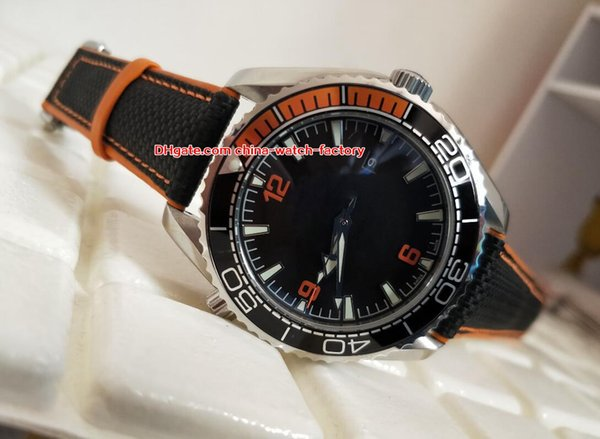 Hot Items Luxury High Quality Orange 43.5mm Planet Ocean Co-Axial Leather Bands CAL.8500 Movement Mechanical Automatic Mens Watch Watches