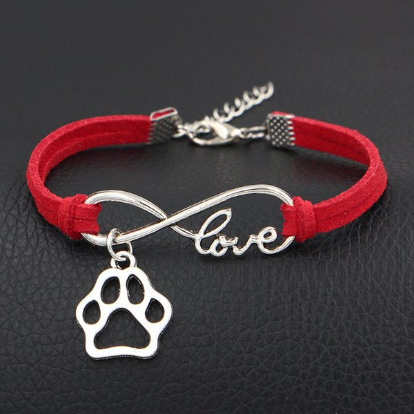 Designer Silver Plated Infinity Love Dog Paw Print Heart Hollow Charm Bracelet Red Leather Rope Wrap Cuff Jewelry Fashion Gift For Women Men