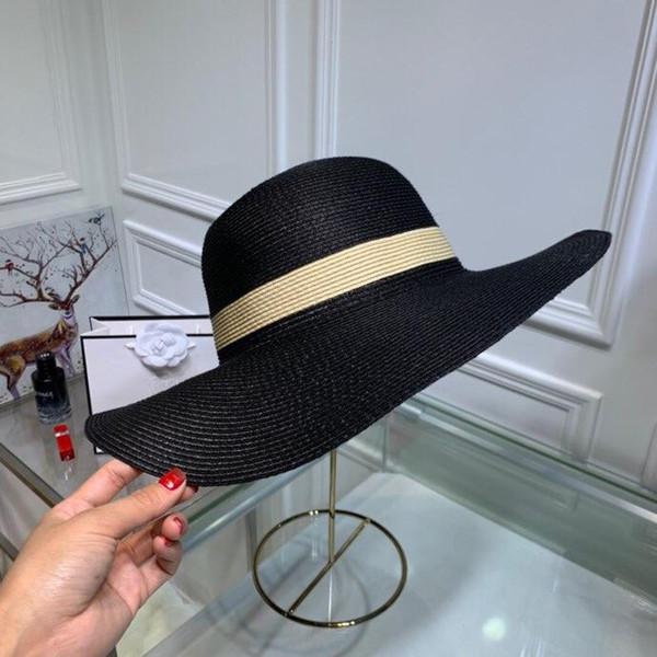 Donne estive cappelli a tesa larga moda cappelli casuali lettera progettista cappello di lana all'aperto per il tempo libero berretti caldi con scatola est