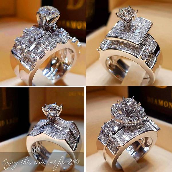 Pop Goood4store Femme Cristal Zircon Anneau de mariage Set mode 925 doigt Argent Big Stone Promise Ring de mariée Bagues de fiançailles pour les femmes