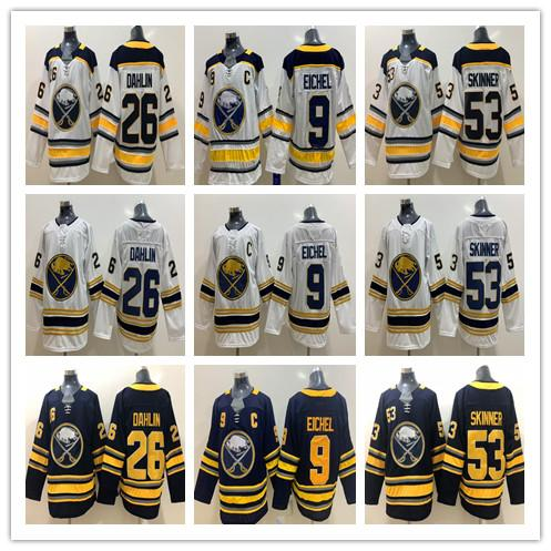 New 50th Buffalo Sabres Golden Jersey 9# Jack Eichel C Patch 26 Rasmus Dahlin 53# Jeff Skinner Ice Hockey Jerseys Blue White Golden Stitched