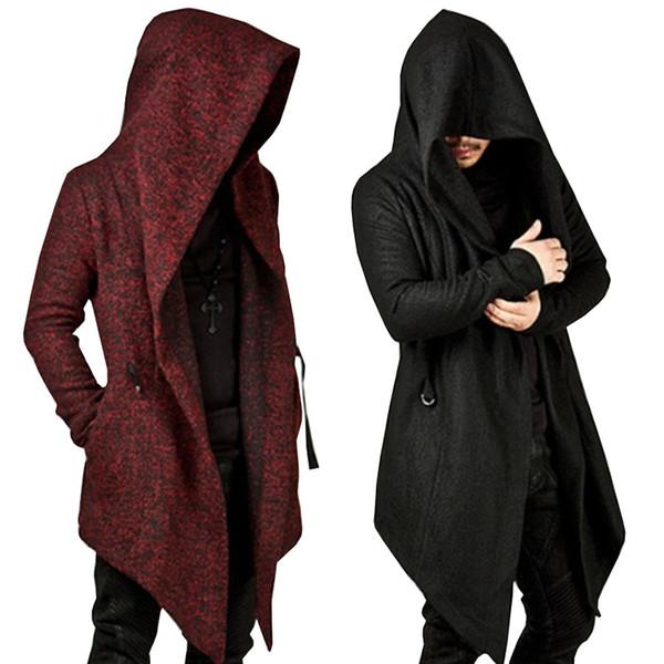 Goths Bandage Trench Outono Masculino Outerwear Preto Novidade Punk Manto Longo-luva dos homens de cor sólida Com Capuz Irregular Hem Jacket
