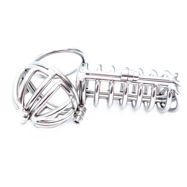 Dispositivo de jaula de martillo de castidad masculina bien hecho restricciones de jaulas de pene de bondage de acero inoxidable juguetes sexuales para adultos para hombres XCXA070