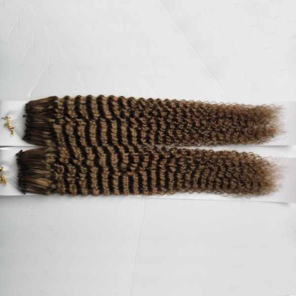 Kinky curly Micro Loop Hair Extensions Micro Bead Human Hair1g/strand Micro Loop Hair Extensions Fish line Hair 200g