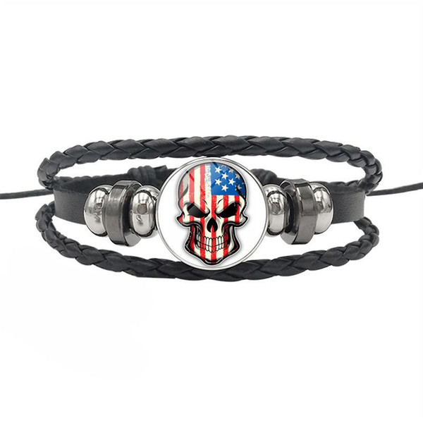 Black Cowhide Leather Rope Beaded Cuff Bracelet For Men Women USA National Flag Time Gem Glass Cabochon Skull Series Button Jewelry Hot Sell
