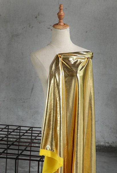 Gold faux sexy leather soft mirror knit pu dress fabric bright mirror coated stretch wedding dresses prom tweed thin fabric A023