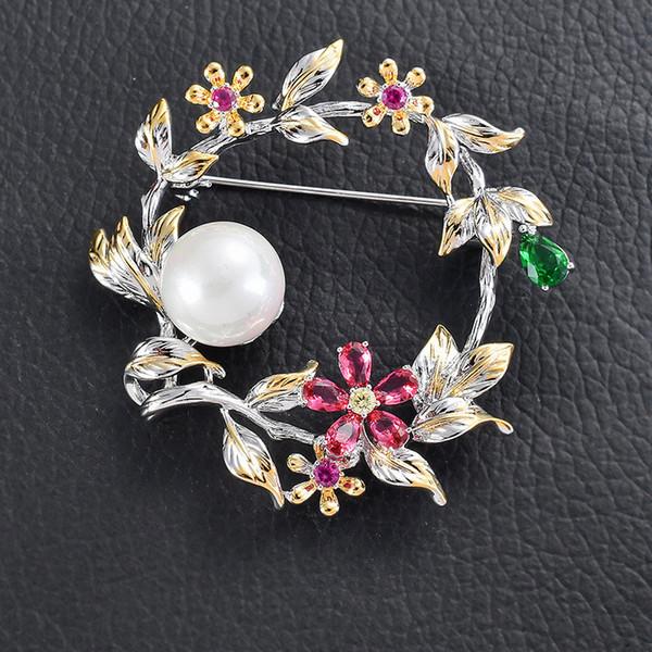 beautiful wreath rhinestone brooch pin elegant floral wreath pearls flowers brooches for women wedding accessories jewelry