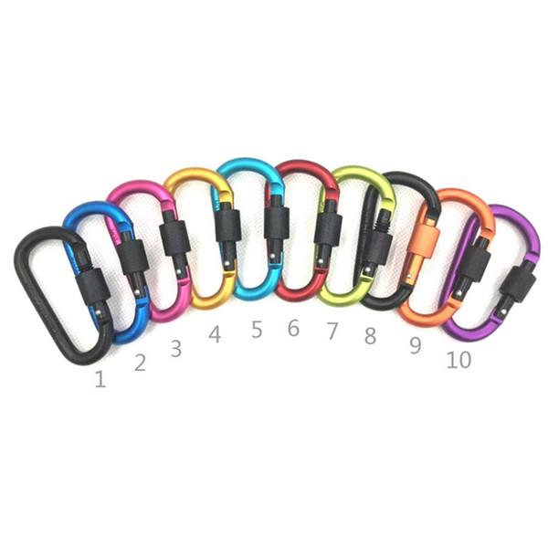 Diamètre épaissi 8CM Coloré Alliage D'aluminium D Styles Escalade Mousqueton Porte-clés Crochet Suspendu Camping Randonnée Boucle LJJZ327