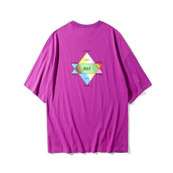 Лето 19ss новый фиолетовый футболки мужская улица хип-хоп случайные свободные топы с короткими рукавами тройники
