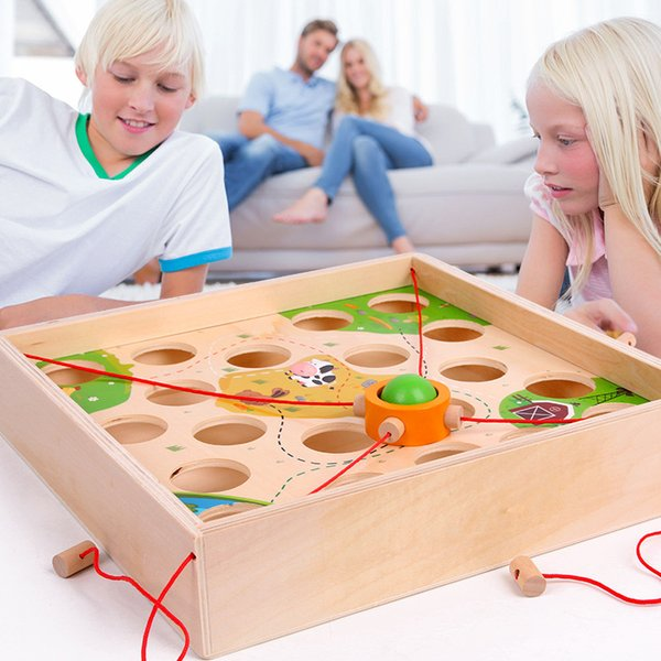 Funny Creative Pull Ball Table Game Children Wooden Maze Children's Early Education Intellectual Parent-child Toy