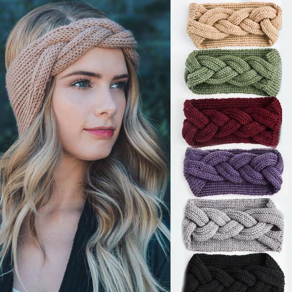 Winter Women Ear Warmer Knitted Headband Solid Braid Headwrap Wide Stretch Turban Lady Crochet Big Bow Autumn Hairband Hair Accessories