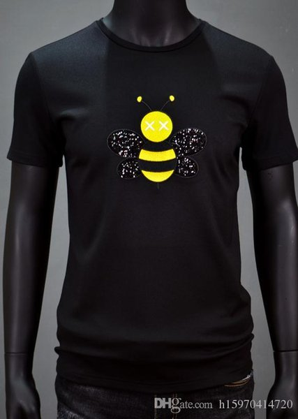 New Summer Mens Designer T Shirts Top Quality Bee embroidery Casual Fashion Shirt Cotton Round Anti-Pilling Neck T Shirt Size M-3XL