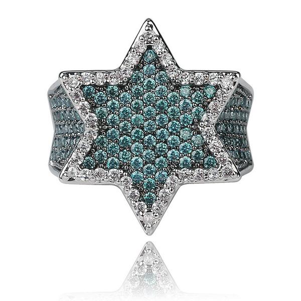 Новый Iced Out Полный Cubic подарка ювелирных изделий циркон Franklin мятно-зеленый драгоценный камень мужской шестиугольная звезда Золотое кольцо Hiphop
