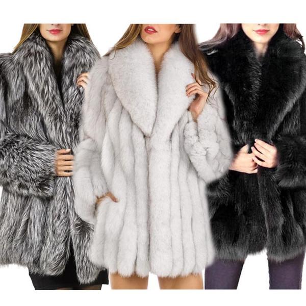 Outono E Inverno Faux Fur Coat Moda Feminina Temperamento Manter Quente Casaco Longo Manga Longa Seção De Pele De Raposa Do Falso