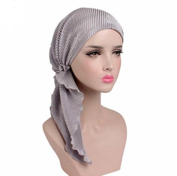 Fashion Girls women Long Tail turban Muslim hat High Bun Beanie Hat Casual Caps hats Beanie Long-tailed wrinkled Turban Cap