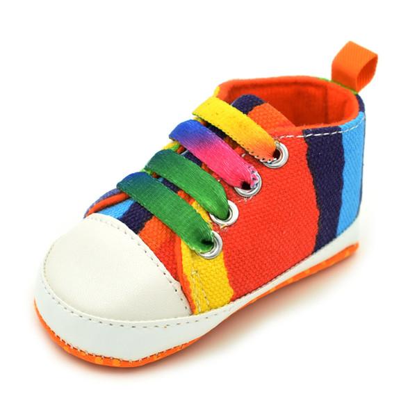 NUEVOS zapatos para niños de siete colores patrón lienzo zapatos de bebé antideslizantes inferiores suaves para niños pequeños 0-1 años 12 estilos