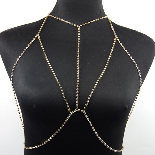 Günstige Mode Sexy Frauen Hohl Bauchketten Luxus Bling Bling Strass Bikini Bh Kette Hohe Qualität Sommer Hohl Designer Halsketten