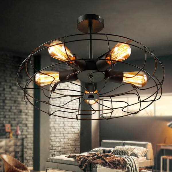 top popular Vintage Retro Industrial Fan Ceiling Lights American Country Kitchen Loft Lamp Iron Material Install 5pcs E27 Light Bulbs 2021