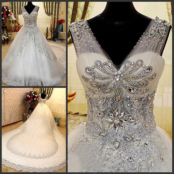 2019 Robe De Mariee Crystal Beaded A-Line Zuhair Murad Wedding Dress Plus Size V Neck Sheer Strap Dubai Bridal Gowns Cathedral Train