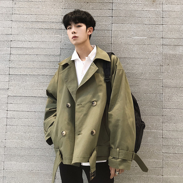 Fashion Mens Short Loose Casual Coat College Style Long Sleeve Jacket Black Army Green Red Boys Jackets S156