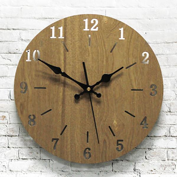 Творческий Тихая Деревянные Современные настенные часы Спальня стены дома Часы Digital Уникальные украшения дома аксессуары Современные часы