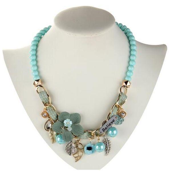 collar de moda collar de flores colgantes de los collares de moda gargantilla comunicado cadena de metal grueso collar de perlas simuladas GB263