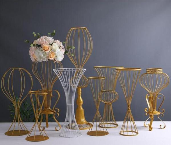 89 cm de hauteur métal route de mariage mène stand de fleurs mariage allée décorations or brillant route route vase à fleur