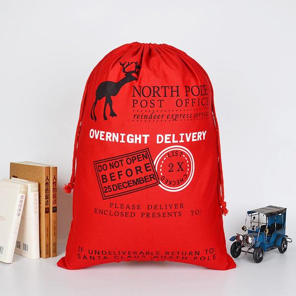 Cotton Weihnachtsgeschenk-Tasche Baumwollsegeltuch Tragetasche Weihnachten Tasche Leinwand Kordelzug Sack Weihnachtsmann-Sack-Beutel für Kinder A04