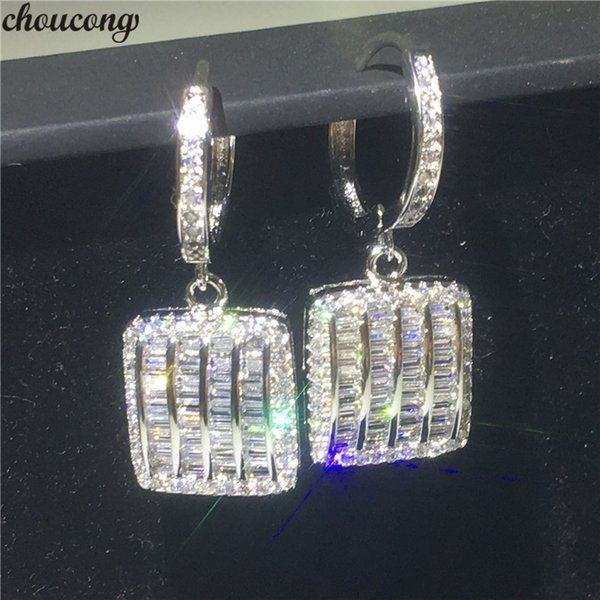 choucong Sparkling Square Drop earring Diamond 925 Sterling silver Wedding Dangle Earrings for women Party jewelry Gift