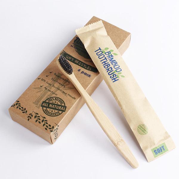 HOT 4 pçs / set Eco Bambu Bolha de Cerâmica Macia sem BPA livre com Punho De Madeira de Baixo-carbono Para Adultos Higiene Oral