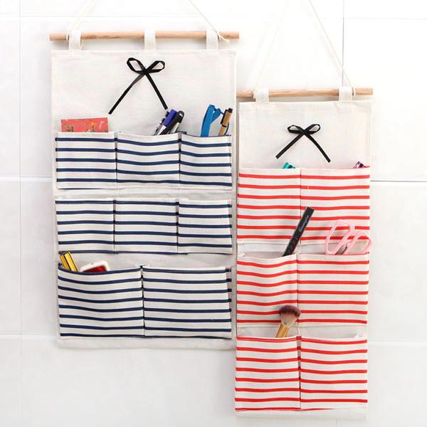 Multi Pockets Cotton Linen Hanging Organizer Door Wall Hanging Storage Bag Kitchen Spoon Fork Knife Holder 10 Pieces DHL