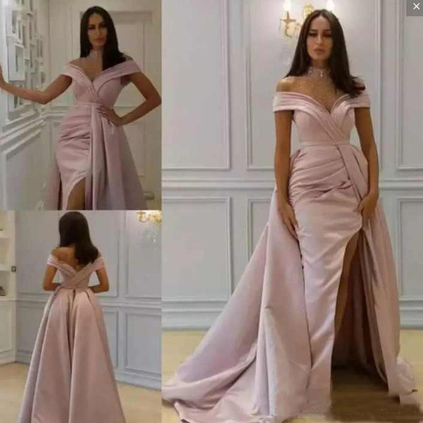 Graceful Pink Mermaid Prom Dresses Off-Shoulder Detachable Train Side Split Special Occasion Dresses Charming Evening Gowns