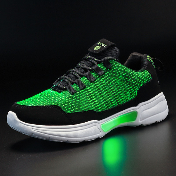 Unclejerry New Led Shoes Fiber Optic Shoes For Girls Boys Men Women Usb Charging Light Up Shoe For Adult Glowing Running Sneaker Y19051303