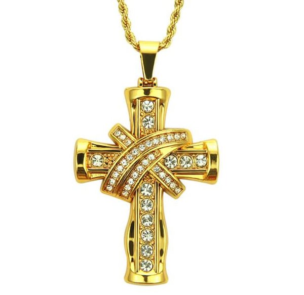 18K Gold Plated Men's domineering Water diamond three-dimensional cross style pendant necklace