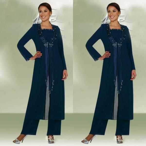 Elegant Dark Navy 3 Pieces Long Jacket Mother Bride Pants Suits Women Party Wear Chiffon Groom Mother Trousers Suits Fashion Sequins Tassel