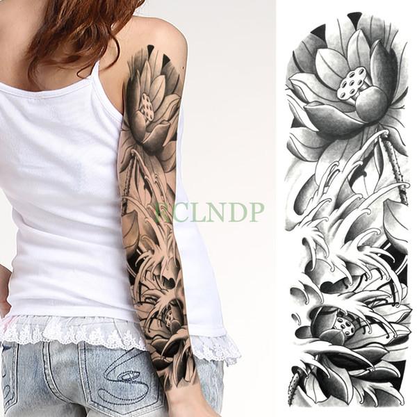 Waterproof Temporary Tattoo Sticker Lotus Flower Seedpod Of The Lotus Full Arm Large Size Fake Tatto Flash Tatoo For Men Women Fake Tattoo Ink Fake