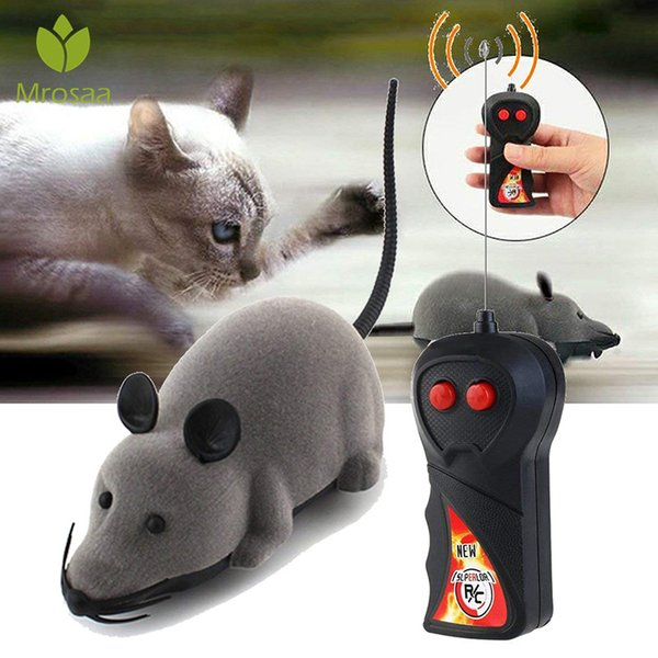 Pet Toys Electronic Remote Control Mouse Pet Cat Dog Toy Battery-operated Funny Flocking Rat Gift Toy For Cat Puppy Kids