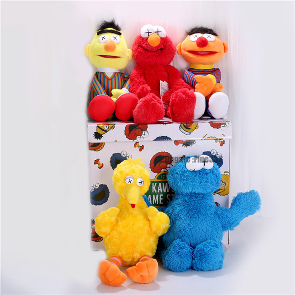 Sesame Street KAWS 5 modelli Peluche ELMO / BIG BIRD / ERNIE / MONSTER ripiene migliore qualità grandi doni per i bambini