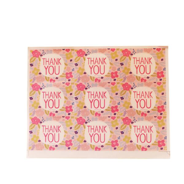 4500pcs/Lot Kawaii Pink Flowers Thank you Handmade Sticker Label Sticker DIY For Gift Cake Baking Scrapbooking Sealing Sticker